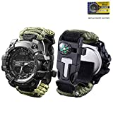 vikano Survival Bracelet Watch, Men & Women Emergency Survival Watch with Paracord/Whistle/Fire Starter/Scraper/Compass and Thermometer, 6 in 1 Multifunctional Outdoor Gear (Green)