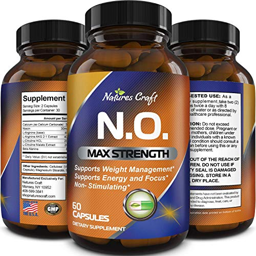Nitric Oxide Booster Complex with L-Arginine L-Citrulline – Amplifier for Increased Endurance – Powerful Antioxidant – Weight Loss Support Vitamin for Men Women Teens 1