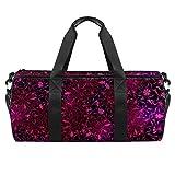 PLOKIJ Bolsa de deporte pequeña de 45,72 cm para hombres y mujeres, bolsa de viaje con bolsillo mojado, diseño retro de flores, rosa