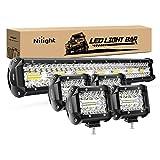 Nilight 20 Inch 420W Triple Row Flood Spot Combo Led Light Bar 4PCS 4Inch 60W LED Pods Driving Boat Lights Led Off Road Trucks Lights, 2 Years Warranty (ZH415)