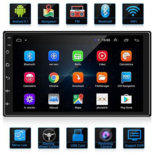 ANKEWAY RDS Android Autoradio 2 DIN Navigation GPS 7 Pouces 1080P HD Écran Tactile WiFi/Bluetooth Autoradio Mains Libres, Multimédia Voiture Stéréo avec Caméra de Recul [4 Noyaux+1G/16G]