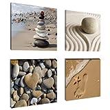 Visario 6902 Set de 4 Photos sur Toile Spa Sand 4 x 20 x 20 cm