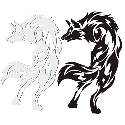 2枚セット 車 オオカミ(狼) ウルフモチーフのバイク用ステッカー バイク用品 バイクグッズ プレミアム カー 自動車用 エンブレム ステッカー 立体 おしゃれ 飾り 汎用 車ドレスアップ ステッカー(黒+白/8cm*12.5cm)