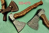20 Inches Long Damascus Steel Tomahawk Axe, Engraved Rose Wood Handle Bearded Hiking Battle Axe, Hand Forged Damascus Steel Head, Thick Cow Hide Leather Sheath