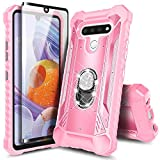 NZND Case for LG Phoenix 5, LG K31 Rebel L355DL/Aristo 5/K31/Tribute Monarch/LG K8X/Fortune 3/Risio 4 with Tempered Glass Screen Protector, Magnetic Metal Ring Holder, Full-Body Protective -Pink