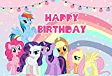 My Little Pony Backdrop for Birthday Rainbow with Stars Cartoon Princess Girls Party Decoration Background Photography Studio Props 7x5 ft 14
