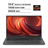 2020 ASUS VivoBook 15 15.6 Inch FHD 1080P Laptop (AMD Ryzen 3 3200U up to 3.5GHz, 16GB DDR4 RAM, 256GB SSD, AMD Radeon Vega 3, Backlit Keyboard, FP Reader, WiFi, Bluetooth, HDMI, Windows 10) (Grey)