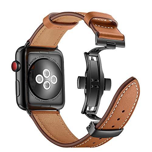 Myada Correa Apple Watch 44mm Piel, Correa Apple Watch Series 4 42mm, Pulsera Apple Watch 4 Metal de con Cierre Magnético, Pulsera Reemplazo para iWatch Serie 1/2/3/4 -Marrón