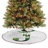 Falda de árbol de Navidad abstracta arreglo floral silueta y flores de jazmín Concepto ABC Decoración de Navidad Adornos para árbol de Navidad, decoraciones de fiesta, verde y blanco 122 cm