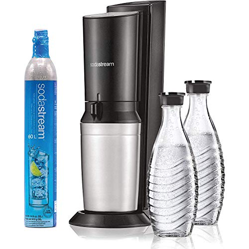 SodaStream Aqua Fizz Sparkling Water Machine (Black) with Co2 & Glass Carafes
