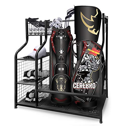 Mythinglogic-Golf-Storage-Garage-Organizer-Dual-Golf-Bag-Storage-Stand-and-Other-Golfing-Equipment-Rack-4-Removable-Hooks-Extra-Large-Design-for-Golf-Clubs-Accessories