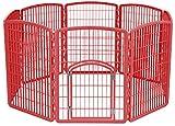 IRIS USA 34'' Exercise 8-Panel Pet Playpen with Door, Red