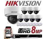 Hikvision Système de surveillance vidéo 8 caméras dôme 8canaux NVR IP PoE 8x 8MP mégapixels CCTV 2,8mm Intérieur ou extérieur Vision de nuit DS-7608NI-K2/8P DS-2CD2185FWD-I