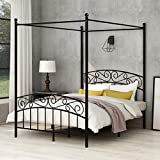 Yollen Canopy Bed with Sturday Metal Bed Frame No Box Spring Needed Mattress Foundation Black Full Size