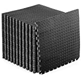 """ProsourceFit Puzzle Exercise Mat ½"""", EVA Foam Interlocking Tiles Protective Flooring for Gym Equipment and Cushion for Workouts, Black 144 Square Feet"""