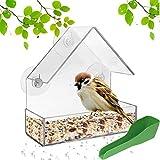 ODOOKON transparent Fenster-Vogelfutterhaus, Wird für die meisten Vögel verwendet, 3 Saugnäpfe, Futterstation mit Dach, Mit Fütterungslöffel, 15 x 15 x 7 cm, Acrylglas, PVC