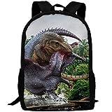 TTmom Zaini/Zaino Casual,Borse a Zainetto, Dinosaur Fight Spinosaurus Tyrannosaurus Rex Interest Print Custom Unique Casual Backpack School Bag Travel Daypack Gift -