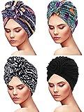 4 Pieces Women Turban African Pattern Knot Headwrap Sleep Beanie Pre-Tied Bonnet (Bohemian Style)