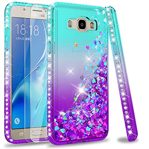 LeYi Custodia Galaxy J5 2016 Glitter Cover con Vetro Temperato [2 Pack],Brillantini Diamond Silicone Sabbie Mobili Bumper Case per Custodie Samsung Galaxy J5 2016 Donna ZX Turquoise Purple Gradient