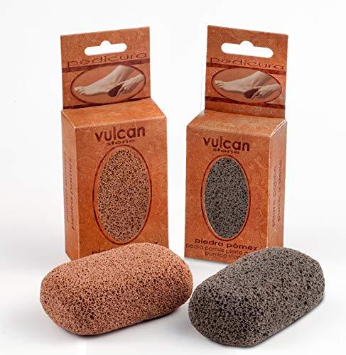 Piedra Pómez Vulcan - Pack de 2 unidades (Colores: Terracotta - Gris) - Elimina durezas y...