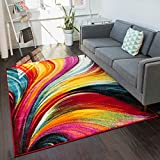 Well Woven Viva Pleasure Modern Abstract Multi Bright Area Rug 5'3' x 7'3'
