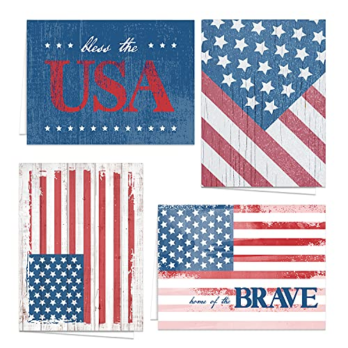 Patriotic Blank All Occasion Greeting Cards / 24 American Flag Note Cards With White Envelopes/USA Military 4 7/8