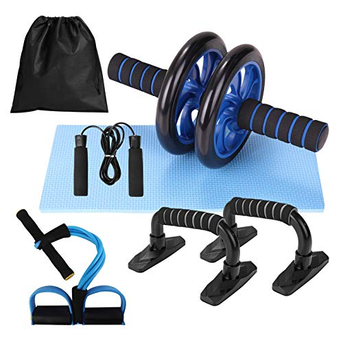 Lixada Abdominal Wheel 5 in 1 Kit with Push-UP Bar Skipping Rope Knee Mat for Muscle Training Fitness Exercise at Home