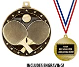 Ping Pong Medals, 2' Gold Table Tennis Medal Award with Free Custom Engraving 1 Pack Prime