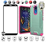 MyFavCell Case for LG K40/Harmony 3/Xpression Plus 2 (2019) LM-X420/Solo LTE L423DL, with [HD Tempered Glass Protector], Hybrid with [Magnetic Mount Capability] [Chrome Buttons] Cover (Teal/Hot Pink)