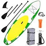 Inflatable Paddle Board Stand Up Paddle Board SUP Paddle Board Accessories Triple Action Pump Premium Backpack Paddle Leash Fishing Yoga 10.6'× 32' ×6'' Inches Thick Adult Youth Kid