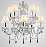 Murano Venetian Style All Crystal Chandelier Lighting W/Blue Crystals w/Chrome Sleeves H 25' x W 24' with White Shade