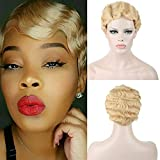 DIFEI 7 Colors Women Black Blonde Golden Brown Pink Blue Wine Red Short Finger Wave Curly Wigs Nuna Wigs Janet Collection (Golden)