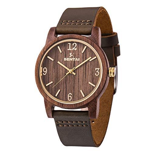 Sentai Herren Holz Armbanduhr Classic Analoge Japanisch Quarzwerk Uhren mit Lederband für Herren...