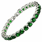 RIZILIA Round Cut Simulated Green Emerald CZ 18K Gold Plated Tennis Bracelet, 7'