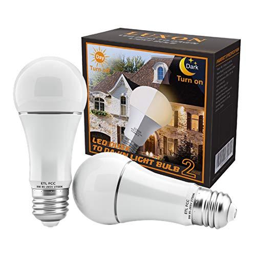 Dusk to Dawn Light Bulb 9W Auto On/Off Photocell Sensor Bulbs E26/E27 Base LED Security Bulbs 2700K Soft White for Porch Patio Garage Pack of 2 by LUXON