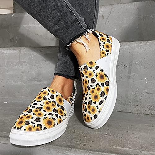 HHZY Zapatos Planas Mujer Zapatillas de Deportivas Alpargatas Transpirable con Estampado de Girasol Mocasines Verano Ligero Sneakers Cómodos Zapatos para Mujer,Amarillo,US10/EU41