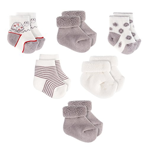 Jacobs - Calzettini neonato - 6 paia - Calzini di cotone per bambini - 0-3 mesi - Certificazione Oeko-Tex Standard 100, Senza Sostanze Nocive - Unisex - Grigio Ecru