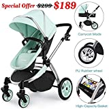 Infant Bassinet Hot Mom 2 in 1 Toddler Stroller Seat and Bassinet Combo,New PU Rubber Wheel,Anti-UV Canopy,Foot Cover with 8 Gifts,Good Quality,Green