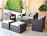 SOLAURA Outdoor Furniture Set 7-Piece Wicker Conversation Furniture Lounge Chairs with Ottoman & Loveseat with Sophisticated Glass Coffee Table-Brown