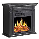 R.W.FLAME Electric Fireplace Mantel Wooden Surround Firebox, Freestanding Corner Fireplace, Home Space Heather, Adjustable Led Flame, Remote Control,750W/1500W, Black