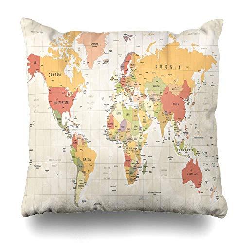 Green Haoke Almohada Decorativa Cubierta Detalle Beige Mapa del Mundo político Vintage Alto Detallado EE.UU. Rojo Europa Viajes Asia Atlas Plano 18 Atlas 18 Pulgadas Funda de Almohada Cuadrada