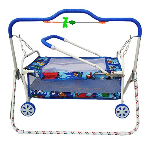 Confiado New Born Baby Bassinet Mini Swing Cradle Jhula with Mosquito Net (Blue)