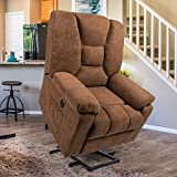 Esright Microfiber Power Lift Electric Recliner Chair with Heated Vibration Massage Sofa Fabric Living Room Chair with 2 Side Pockets, USB Charge Port & Remote Control, Coffee