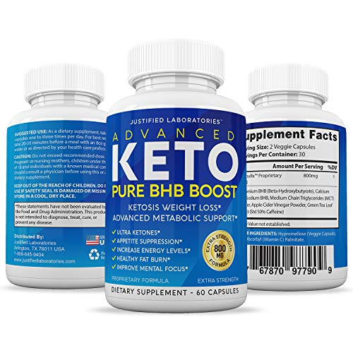 Advanced Keto Pure BHB Boost Pills Enhanced Ketogenic Supplement Real Exogenous Ketones Ketosis for Men Women 60 Capsules 2 Bottles 3