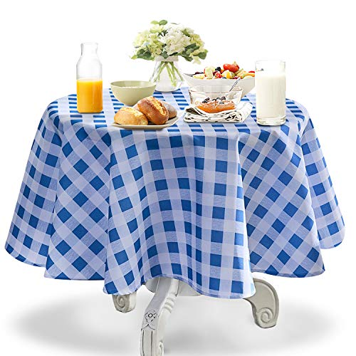 YEMYHOM Round Tablecloth 70 Inch Spill-Proof Oil-Proof Microfiber Table Cover Machine Washable Indoor Outdoor Circle Table Cloth for Spring Summer Party Picnic Camping (Red and White Checkered)