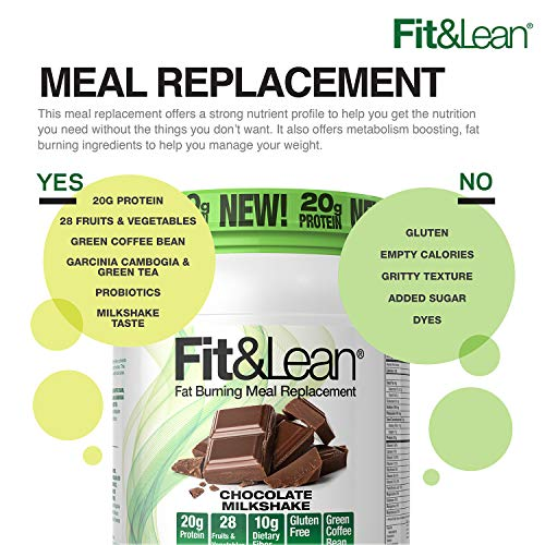 Fit & Lean Meal Shake Fat Burning Meal Replacement with Protein, Fiber, Probiotics and Organic Fruits & Vegetables and Green Tea for Weight Loss, 1lb, Chocolate, 10 Servings Per Container 2