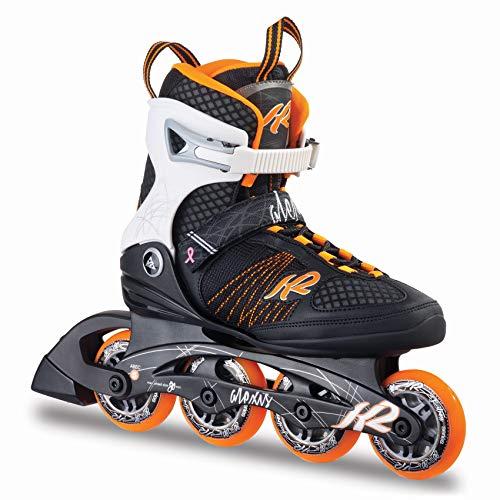 K2 Damen Inline Skates Alexis 80 - Schwarz-Weiß-Orange - EU: 41.5 (US: 10 - UK: 7.5) - 30A0104.1.1.100