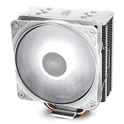 DEEP COOL GAMMAXX GTE V2 WH, Ventilateur de Processeur PC, 4 Caloducs, Ventilateur 120mm PWM LED Blanc, Intel & AMD