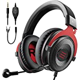 EKSA E900 Wired Stereo Gaming Headset-Over Ear Headphones with Noise Canceling Mic, Detachable Headset Compatible with PS4, Xbox One, Nintendo Switch, PC, Mac, Laptop(Red)