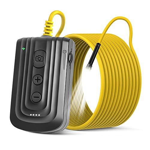 NEKAN WiFi Endoscopio, Telecamera Ispezione Auto-Focus 5,5mm 2MP 1080P Zoomable WiFi con 6 LED, USB Charge 2600mAh IP67 Semi-Rigid Snake Camera flessibile per Android & iOS Smart Phone & Tablet-5M